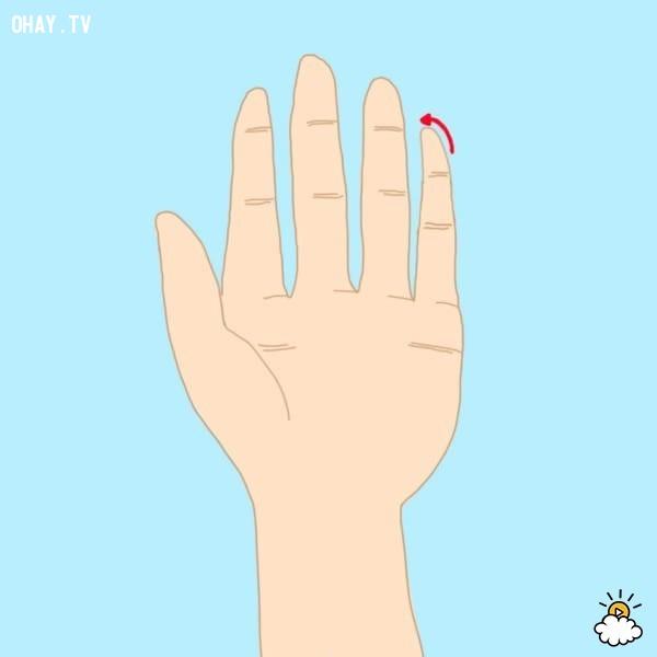 Kiểu 8: Đầu ngón tay út hơi nghiêng, cong vẹo.,trắc nghiệm,đoán tính cách