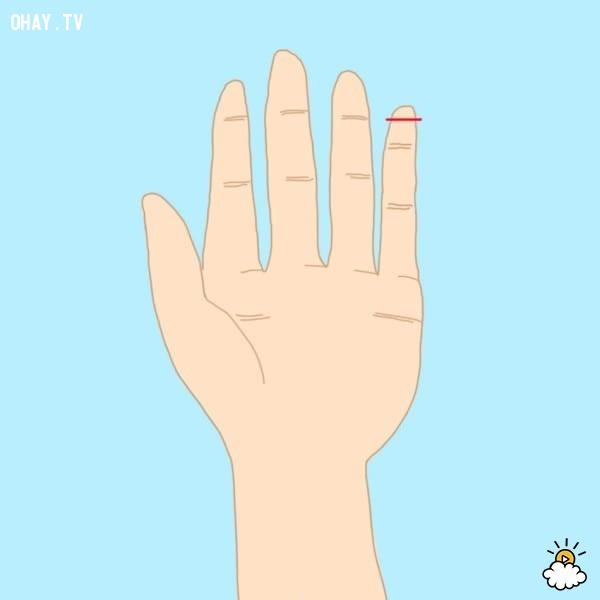 Kiểu 3: Ngón út dài hơn đốt đầu tiên của ngón tay đeo nhẫn,trắc nghiệm,đoán tính cách
