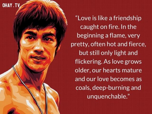 Lí Tiểu Long nói về tình yêu.,câu nói của Lí Tiểu Long,võ thuật lí tiểu long,phong cách sống,câu nói ý nghĩa
