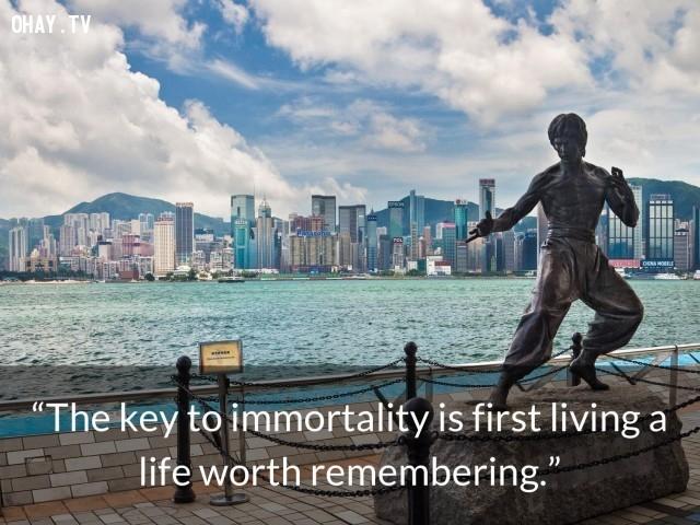 """""""Chìa khóa dẫn tới bất tử đầu tiên là sống một cuộc sống đáng nhớ."""",câu nói của Lí Tiểu Long,võ thuật lí tiểu long,phong cách sống,câu nói ý nghĩa"""