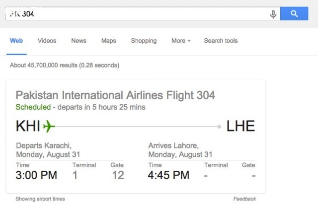 16. Kiểm tra tình trạng chuyến bay của bạn,Google Seach