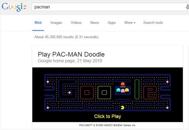 2. Chơi game Pacman,Google Seach