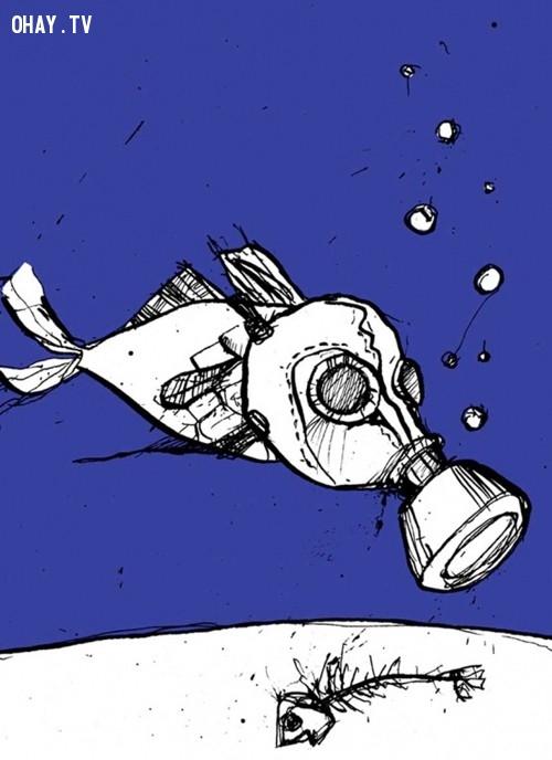 Biển ô nhiễm nên cá phải đeo mặt nạ thở mới sống nổi,ô nhiễm môi trường,cá chết