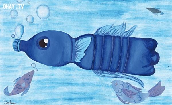 Một chú cá chai nhựa,ô nhiễm môi trường,cá chết