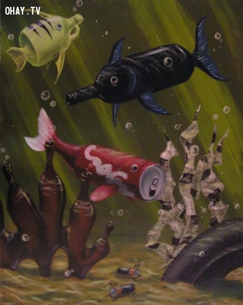 Những chú cá, tôm, rong rêu bị biến dạng vì những món rác thải con người vứt xuống biển.,ô nhiễm môi trường,cá chết