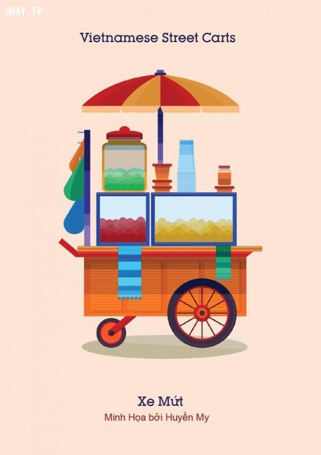 ,gánh hàng rong,tranh vẽ,hàng rong việt nam,Vietnamese Street Carts