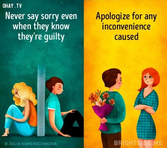 6. Người tiêu cực không bao giờ xin lỗi ngay cả khi họ biết mình có tội, người tích cực xin lỗi vì bất cứ sự bất tiện nào.,người tích cực,người tiêu cực,sự khác biệt,suy nghĩ tích cực,suy nghĩ tiêu cực,tư duy tích cực