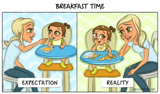 1. Giờ ăn sáng,ảnh hài,làm cha,làm mẹ,em bé,đứa con đầu lòng