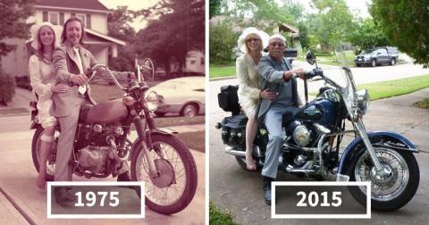45+ cặp đôi tái hiện lại những ảnh chụp trước đây của mình