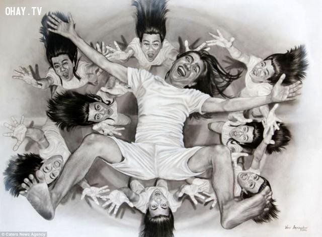 """7. """"Emotional rollercoaster"""",Veri Apriyatno,ảo ảnh thị giác,chân dung tự họa"""