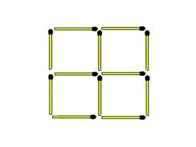3. Di chuyển 2 que diêm để tạo ra 7 hình vuông.,trắc nghiệm,câu đố,tư duy trừu tượng,tư duy trực quan,kiểm tra tư duy trừu tượng