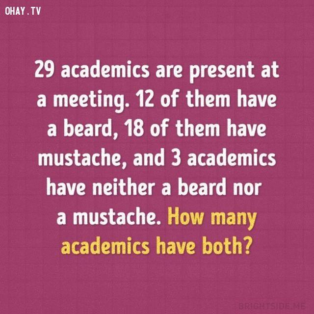 6. 29 học giả đang có mặt tại một cuộc họp. 12 người trong số họ có râu, 18 người có ria mép và 3 người không có râu lẫn ria mép. Hỏi có bao nhiêu học giả có cả râu lẫn ria mép?,trắc nghiệm,câu đố,giải đố,ai thông minh hơn học sinh tiểu học,trắc nghiệm vui