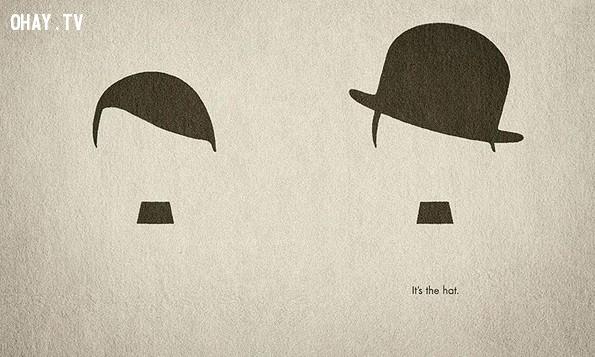 Quảng cáo của hãng mũ Hut Weber: Các bạn có nhìn thấy hình ảnh của Hitler và Chaplin. Chính chiếc mũ đã tạo nên sự khác biệt,