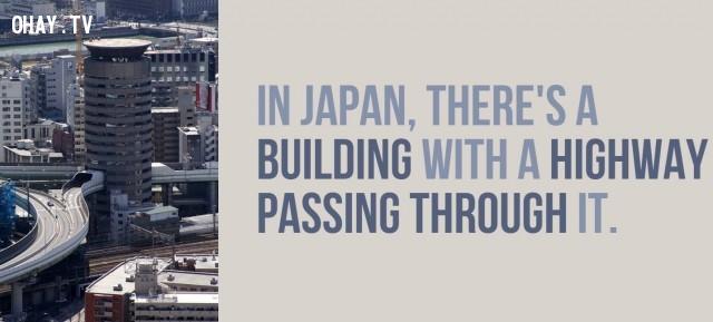 Ở Nhật Bản, có một tòa nhà với một đường cao tốc đi qua nó.,Nhật Bản,đất nước mặt trời mọc,đất nước đáng sống