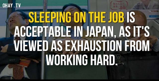 Ngủ trong giờ làm việc là chấp nhận được ở Nhật Bản, vì nó được xem như kiệt sức vì làm việc chăm chỉ.,Nhật Bản,đất nước mặt trời mọc,đất nước đáng sống
