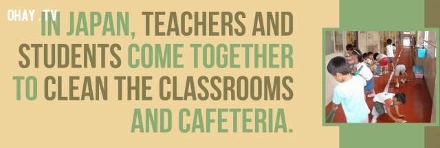 Tại Nhật Bản, giáo viên và sinh viên cùng nhau làm sạch các lớp học và nhà ăn.,Nhật Bản,đất nước mặt trời mọc,đất nước đáng sống
