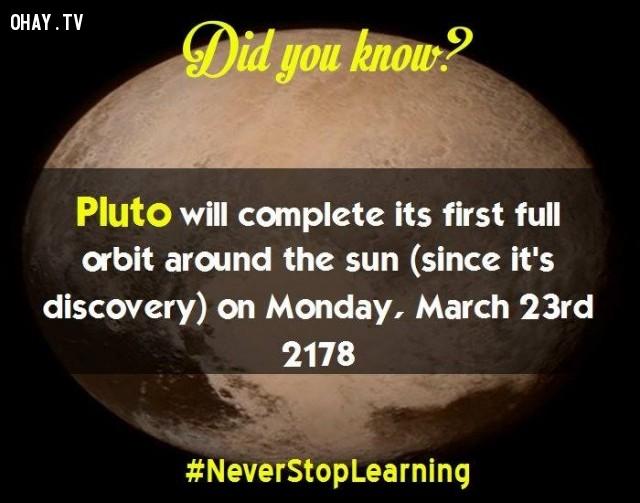 7. Sao Diêm Vương sẽ hoàn thành quỹ đạo đầu tiên xung quanh mặt trời (kể từ khi phát hiện ra nó) vào thứ hai ngày 23 tháng 3 năm 2178.,sự thật thú vị,những điều thú vị trong cuộc sống,khám phá,sự thật đáng kinh ngạc,có thể bạn chưa biết