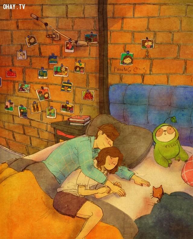 Ôm nhau chìm vào giấc ngủ,tình yêu,yêu thương và chia sẻ