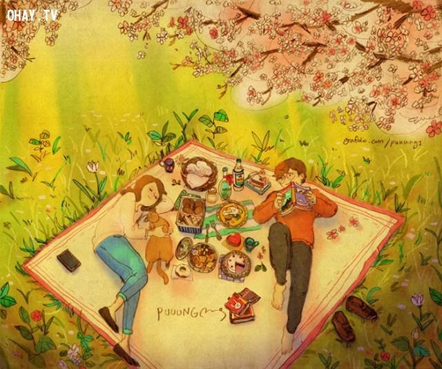 Bên nhau vào một ngày dã ngoại cuối tuần vui vẻ,tình yêu,yêu thương và chia sẻ