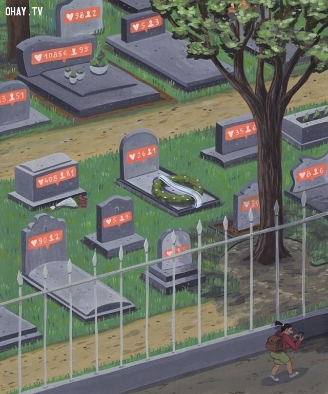 Lượt like và số bạn bè thay cho tên tuổi trên bia mộ.,Brecht Vandenbroucke,ảnh biếm họa,những điều thú vị trong cuộc sống