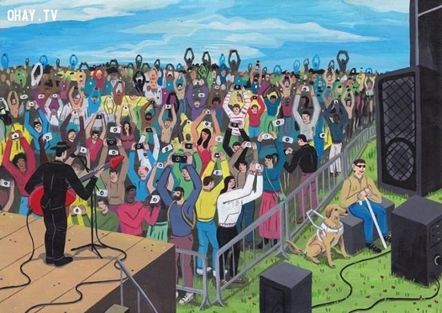 Đám đông đang lắng nghe thuyết trình hay đang thể hiện bản thân mình? Chỉ người mù là khác biệt, họ đang lắng nghe, là khán giả chân chính.,Brecht Vandenbroucke,ảnh biếm họa,những điều thú vị trong cuộc sống