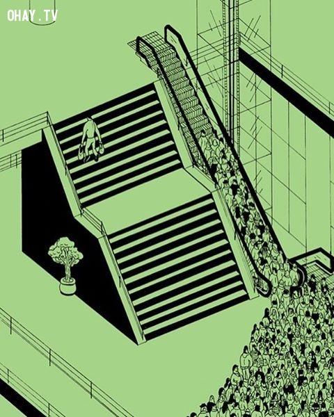 Hiệu ứng đám đông và chỉ một người hưởng lợi.,Brecht Vandenbroucke,ảnh biếm họa,những điều thú vị trong cuộc sống
