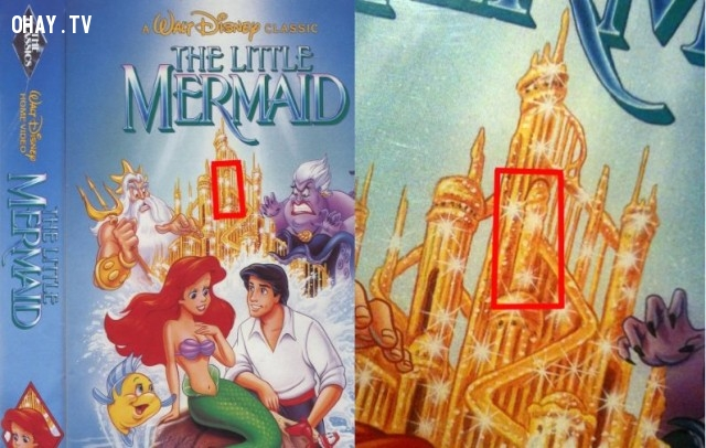 """3. Hãy nhìn kỹ tòa lâu đài trong Nàng tiên cá, bạn có nhìn thấy một vật """"vô cùng nhạy cảm""""?,đầu độc tâm hồn,ảnh hài,phim hoạt hình,chi tiết nhạy cảm"""