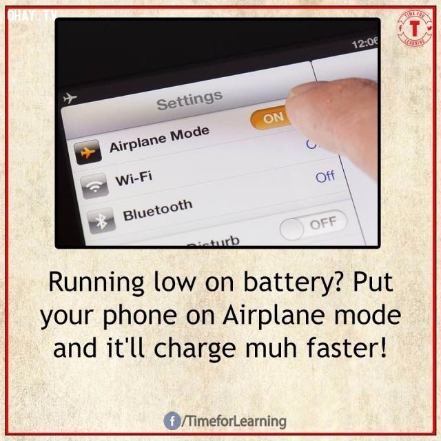 3. Pin yếu? Cài đặt điện thoại ở chế độ máy bay và nó sẽ sạc nhanh hơn nhiều!,mẹo hay,mẹo hay bỏ túi,mẹo vặt,mẹo vặt cuộc sống