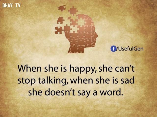 10. Khi phụ nữ vui, cô ấy nói không ngừng. Khi phụ nữ buồn, cô ấy chẳng nói một lời.,tâm lý học,sự thật thú vị,những điều thú vị trong cuộc sống,khám phá,sự thật đáng kinh ngạc,phụ nữ