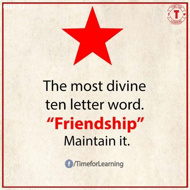 10. Từ tuyệt diệu nhất có 10 chữ cái: FRIENDSHIP/tình bạn. Hãy duy trì nó.,từ vựng tiếng Anh,bài học cuộc sống,suy ngẫm,học tiếng Anh,lời ít ý nhiều,khám phá