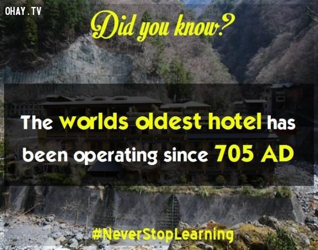 7. Khách sạn lâu đời nhất thế giới mở cửa từ năm 705 sau Công Nguyên.,sự thật thú vị,sự thật đáng kinh ngạc,những điều thú vị trong cuộc sống,có thể bạn chưa biết,khám phá