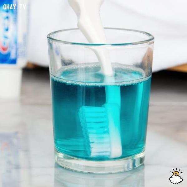 7. Làm sạch bàn chải đánh răng,mẹo hay,công dụng của nước súc miệng Listerine