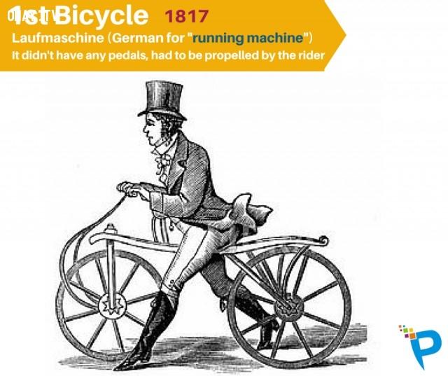 2. Xe đạp đầu tiên (Laufmaschine) được chế tạo năm 1817,khám phá,những phát minh đầu tiên,những điều thú vị trong cuộc sống