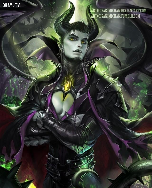 Maleficent,công chúa Disney,nhan sắc nhân vật nữ Disney khi là nam,công chúa Disney sẽ thế nào nếu là nam