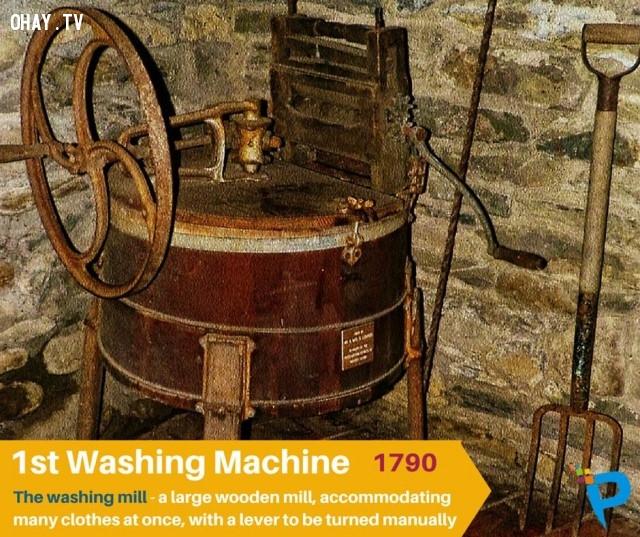 1. Máy giặt đầu tiên (Washing mill) được phát minh năm 1790,khám phá,những phát minh đầu tiên,những điều thú vị trong cuộc sống