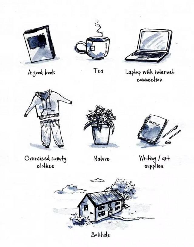 Vật dụng sinh tồn của người nội hướng chỉ cần: một quyển sách hay, một ly trà  ngon, quần áo rộng thùng thình, laptop có mạng, phong cảnh thiên nhiên cùng sự cô độc là đủ,dấu hiệu nhận biết người hướng nội,cuộc sống người cô đơn