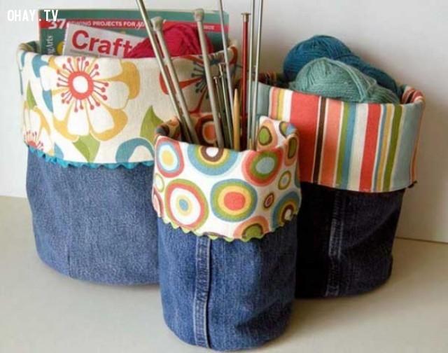 5. Túi đựng đồ lặt vặt,DIY,sáng tạo,tận dụng quần bò cũ