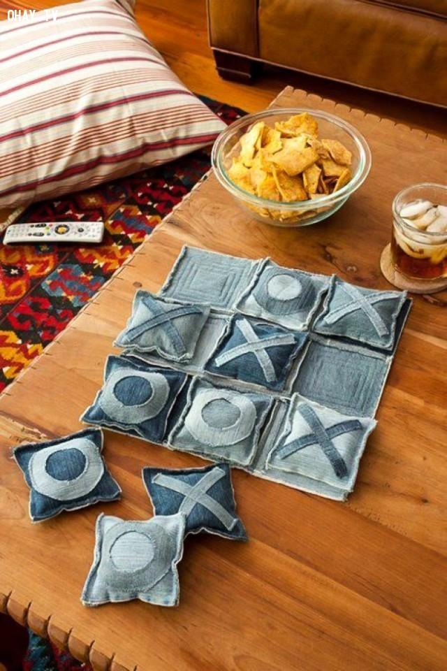 7. Bàn cờ caro,DIY,sáng tạo,tận dụng quần bò cũ