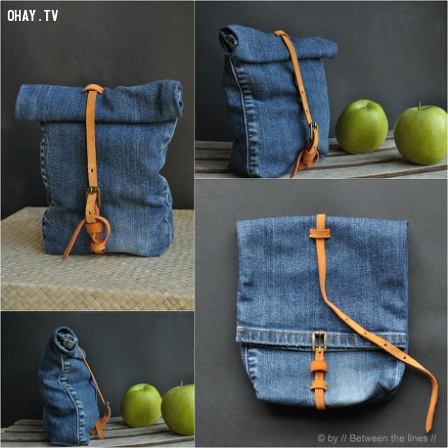 3. Túi đeo độc đáo,DIY,sáng tạo,tận dụng quần bò cũ
