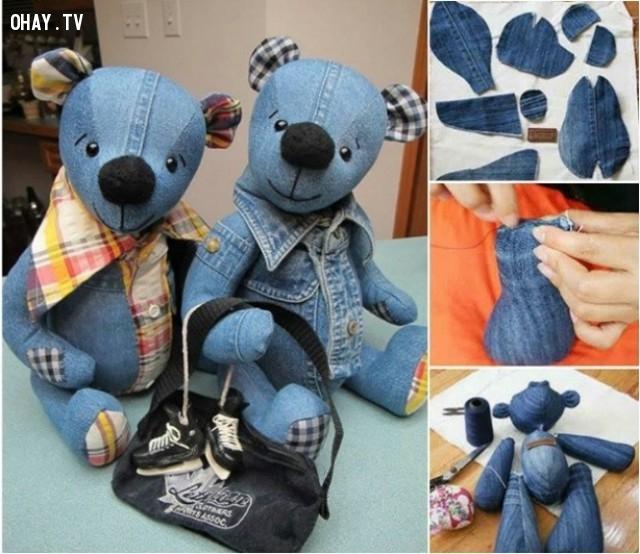 1. Gấu bông Teddy,DIY,sáng tạo,tận dụng quần bò cũ