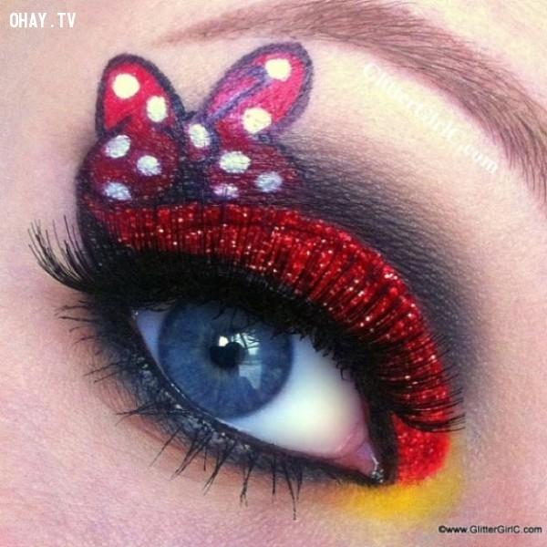 Mắt chuột Minnie,công chúa Disney,trang điểm,mi mắt,độc đáo
