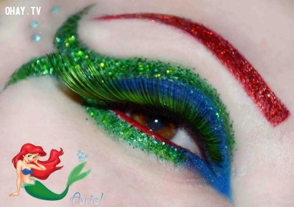 Mắt phong cách nàng tiên cá Ariel,công chúa Disney,trang điểm,mi mắt,độc đáo