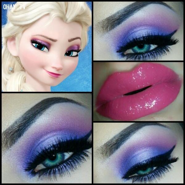 Nữ hoàng băng giá Elsa,công chúa Disney,trang điểm,mi mắt,độc đáo