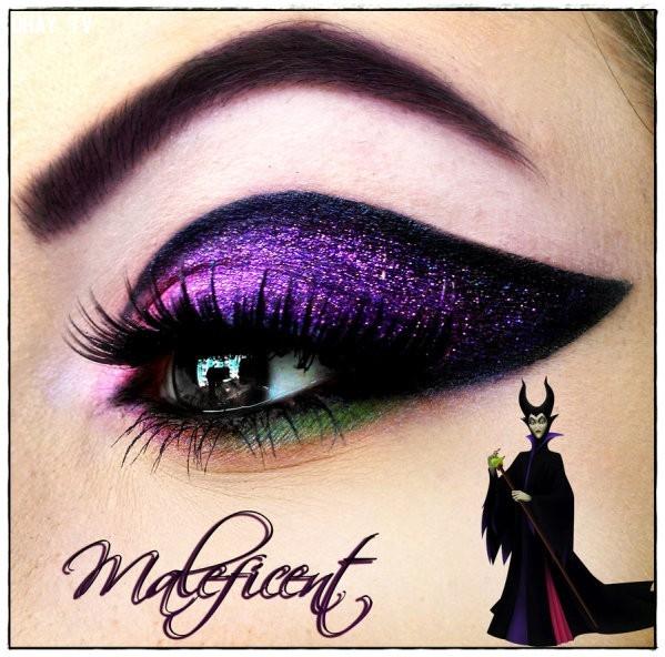 Tiên hắc ám Maleficent,công chúa Disney,trang điểm,mi mắt,độc đáo
