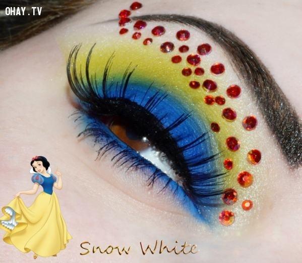 Kẻ mắt theo tông màu trang phục nàng Bạch Tuyết,công chúa Disney,trang điểm,mi mắt,độc đáo