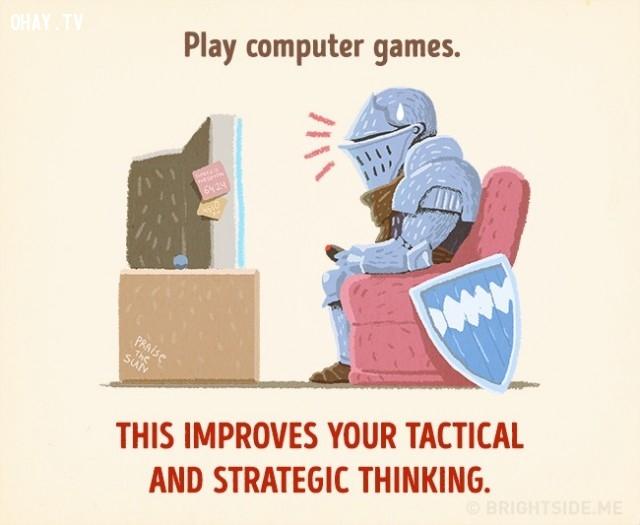 2. Chơi game trên máy tính giúp cải thiện tư duy chiến thuật và chiến lược của bạn.,cách thư giãn khiến bạn thông minh hơn,cải thiện trí thông minh,sử dụng thời gian thông minh,cải thiện trí nhớ,cải thiện sự tập trung