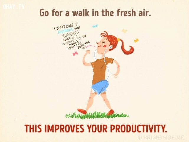 9. Đi dạo trong bầu không khí trong lành giúp bạn cải thiện năng suất.,cách thư giãn khiến bạn thông minh hơn,cải thiện trí thông minh,sử dụng thời gian thông minh,cải thiện trí nhớ,cải thiện sự tập trung