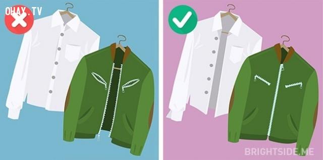 4. Cài cúc áo sơ mi và không kéo khóa áo trước khi cho vào máy giặt.,máy giặt,giặt quần áo đúng cách,mẹo hay