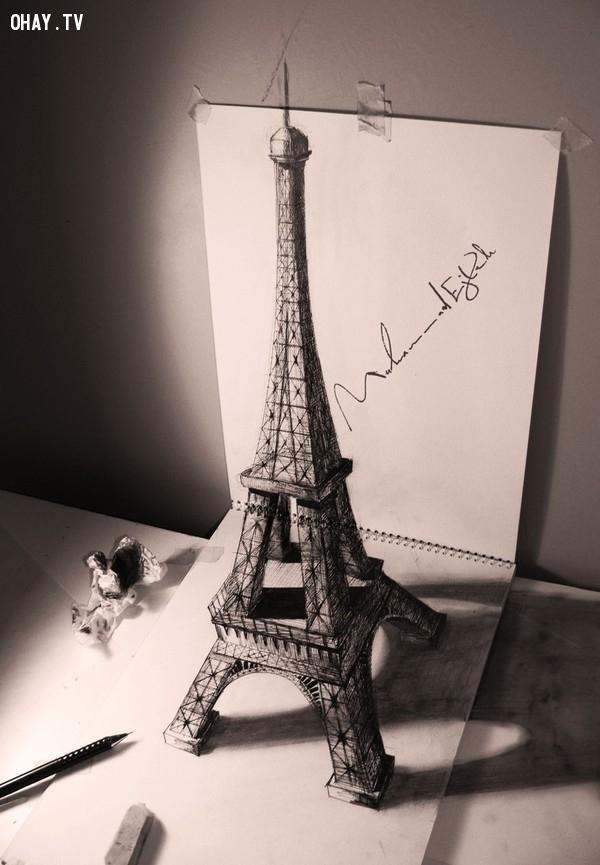 2. Tháp Eiffel như thể hiện ra từ trước mắt,Tranh 3D,Sống động