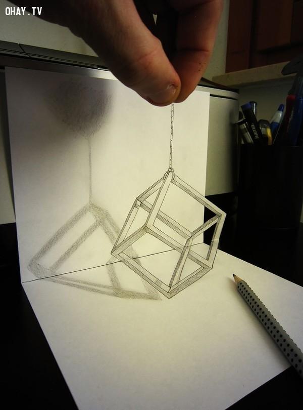 """17. Khối hộp """"thực mà ảo - ảo mà thực"""",Tranh 3D,Sống động"""